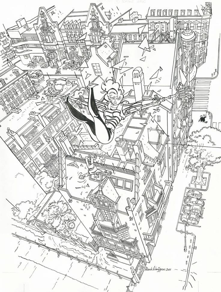 2012 - Franka. Original Comic Art. HENK KUIJPERS - born 1946 - The Netherlands Franka 12 - De blauwe venus (reedition) Cover book - Ink on paper 42x32 cm  Dutch book publication 2012.  Franka in action above Amsterdam !