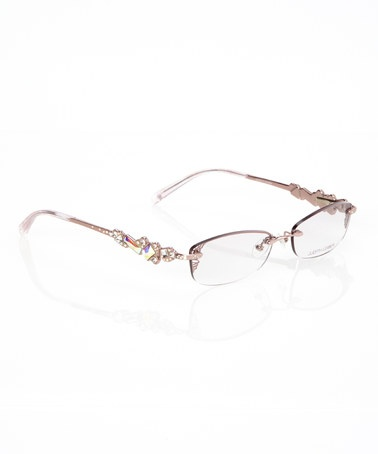 Rose Gold Crystal Embellished Rimless Glasses By Judith