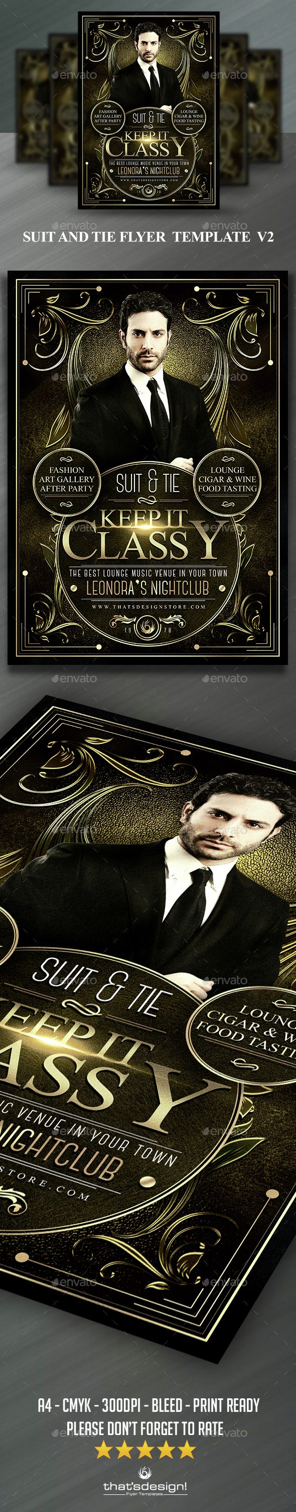Download Free Graphicriver              Suit and Tie Flyer Template V2            #art #black #Charlestone #chic #cigar #classy #clean #club #deco #dj #elegant #flyer #Gasby #gold #golden #leaflet #leather #lou606 #lounge #nightclub #party #poster #psd #retro #suit #template #thatsdesign #tie #tuxedo #whiskey
