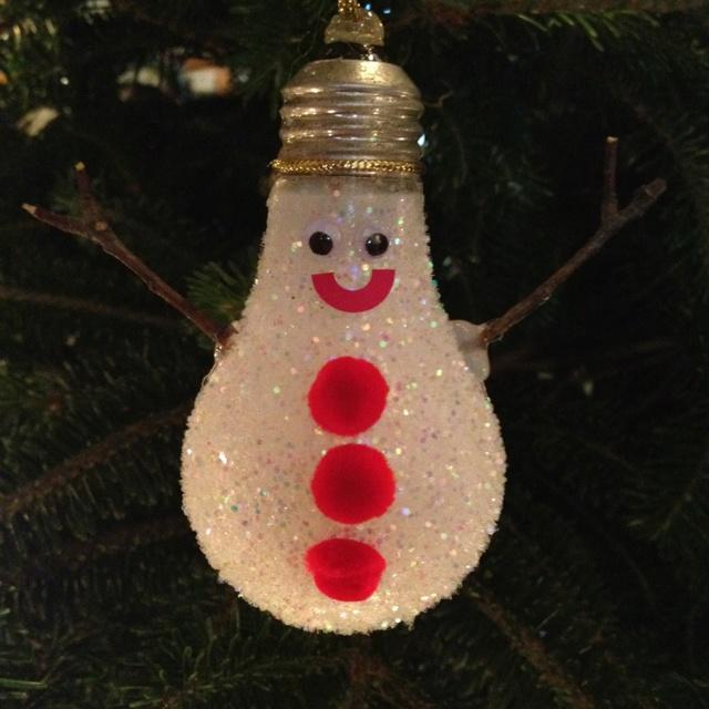 Christmas Decorations With Light Bulbs: Light Bulb Snow Man Christmas Ornament