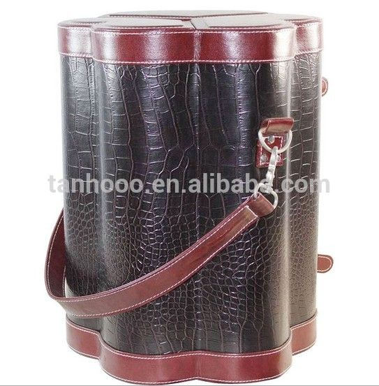 wine box, wine case, wine bottle tube for 6 bottles wholesale pu leather Handmade Vintage wine carrier