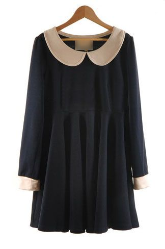 Navy Peter Pan Collar Long Sleeve Dress