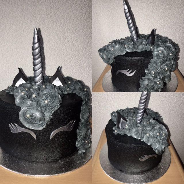 This black Unicorn cake is the coolest i've seen! Love the dark appearance of this cake! Deze zwart met zilveren eenhoorntaart is toch wel heel mooi! Vind de donkere kant van de taart gaaf!
