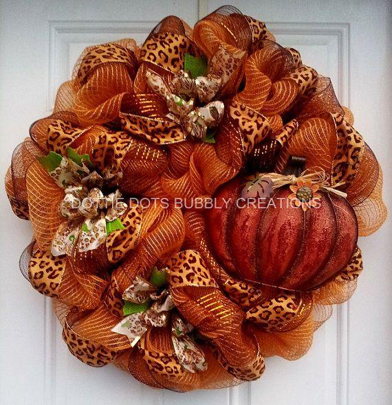 Leopard Burlap Pumpkin Mesh Wreath by dottiedot05 on Etsy, $105.00
