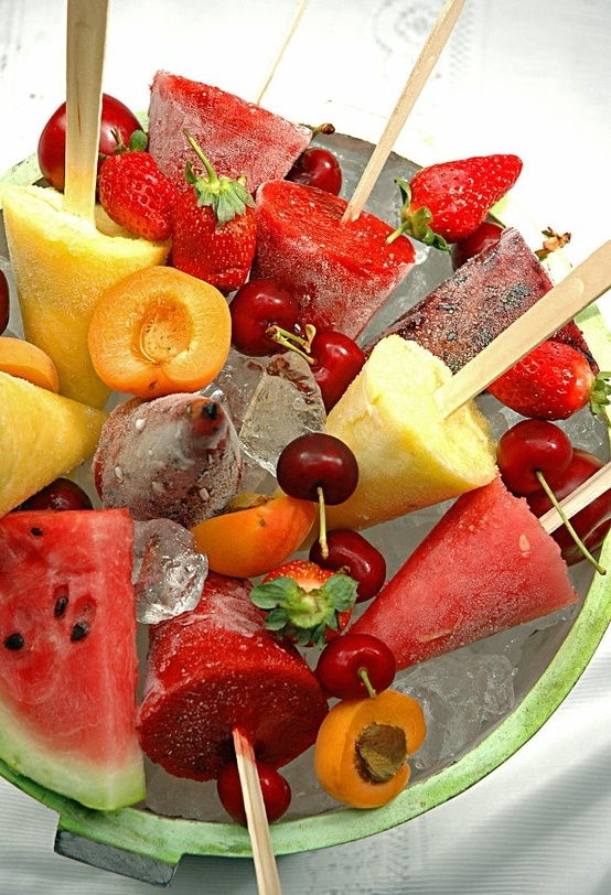 These frozen fruit pops would be excellent for any summer party in the sun. Add a little vodka to it and you are in business.