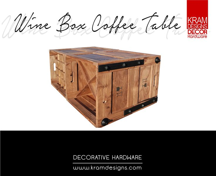 Have an old crate lying around? Transform it into a coffee table by using Kram Designs Decorative Hardware.