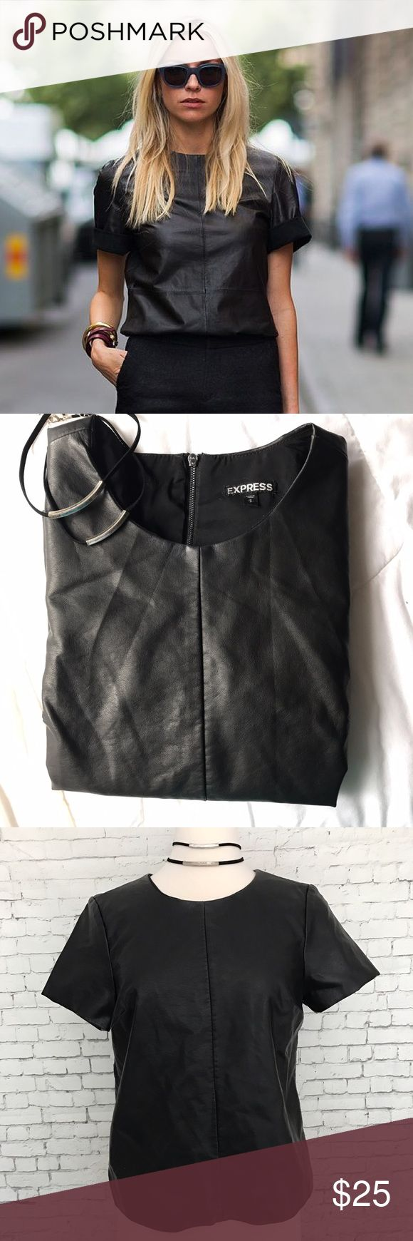 Leather T Shirt Black pleather Express t-shirt with a back zipper. Loose fitted. First picture is similar style, not the same exact one Express Tops Tees - Short Sleeve
