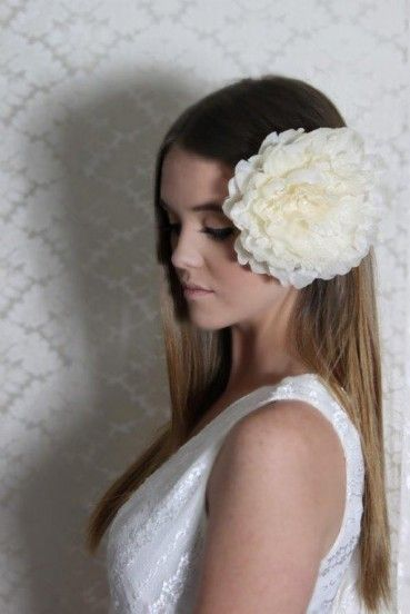 """""""Cinder"""" Ivory/Beige - a simply stunning silky large flower With style, texture and shine to delight, Cinder offers a stunning piece to complement any outfit for any occasion. Fastened on a clip to easily glide onto the hair or pin to your clothing to complement your outfit. $15 including gift box and FREE shipping in Australia."""