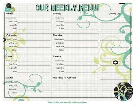 weekly menue planner