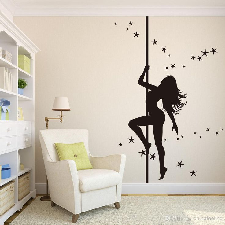 Best Pole Dancing Girl Wall Sticker Black Dancing Girls Wall Paper Large  Size Living Room Wall