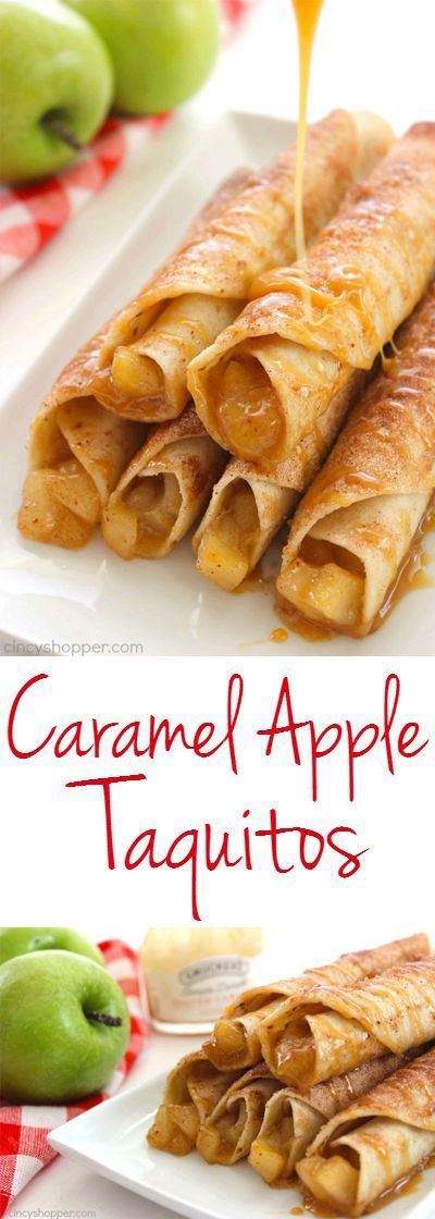 Caramel Apple Taquitos -flour tortillas loaded with apple pie filling cinnamon sugar and caramel. Great fall dessert.