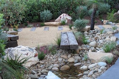 Water Feature, crushed granite paths, weathered or concrete sleepers, native plants, shingle