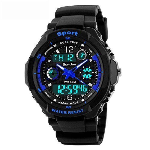 SunJas Reloj Deportivo Impermeable de 50M con Luz de LED Pulsera Digital con la Pantalla de LCD de Multifunción de Cronómetro, Noctilucentes, Alarma, Mostración de Fecha y Tiempo etc. (Azul)