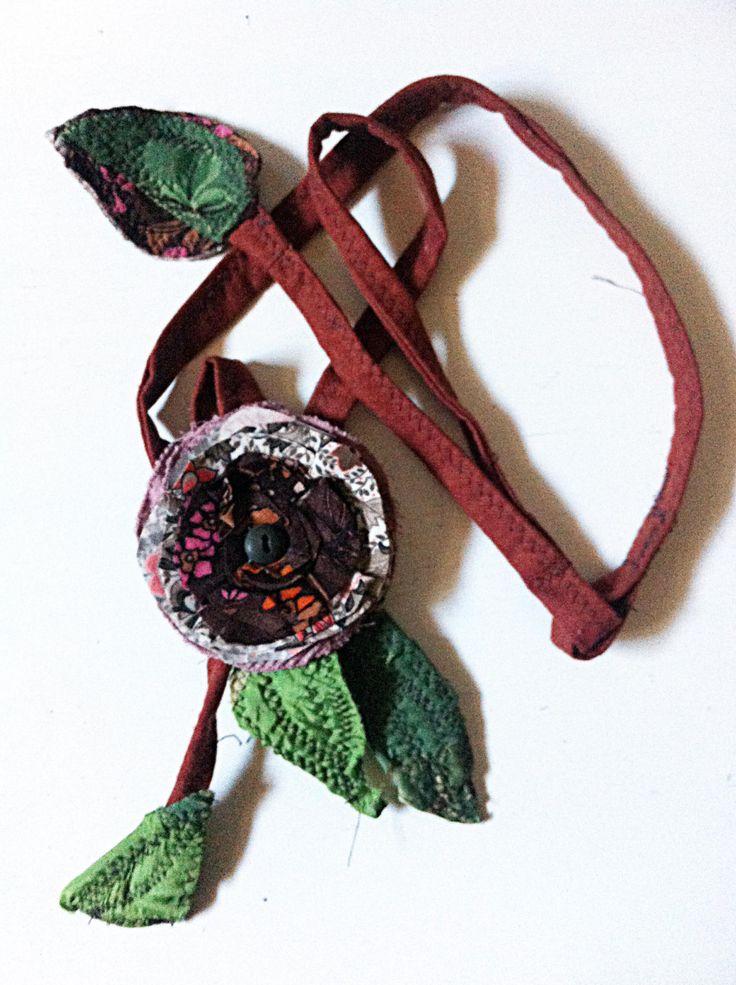 Fabric Necklace (Type2) *Season's flower*3- Creative Recycling collection-handmade-by GiuvaDesign di GiuvaDesign su Etsy