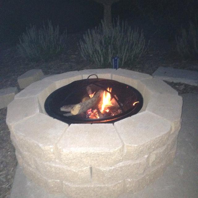 DIY Fire Pit! -30 retaining wall bricks and interior metal ...