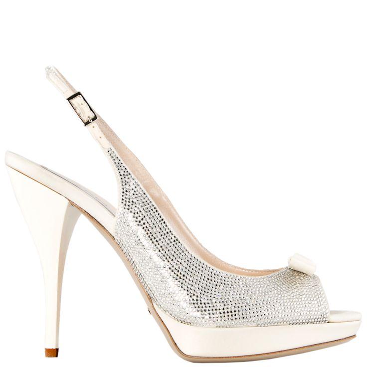 Ivory silk #open-toe #sling-back completely covered in #Swarovski crystals    e.shop GREYMER WHITE #weddingshoes