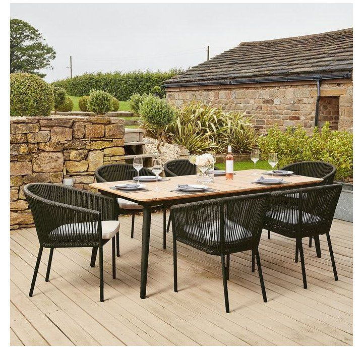 Garden Furniture Sets Tables Chairs Outdoor Dining Area Modern Reims 6 Seater G In 2020 Garden Dining Set Modern Outdoor Dining Area Modern Outdoor Dining Sets