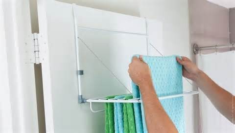 hang fold dry: Dry Racks, The Doors, Small Apartment, Laundry Rooms, Towels Racks, Towels Bar, Small Spaces, Design Hanging, Quirky Products