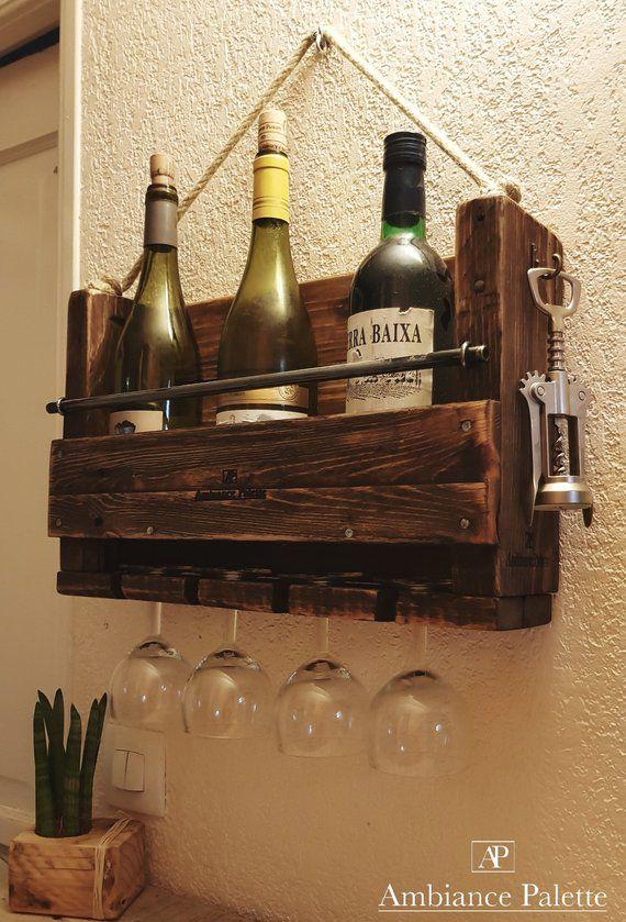 Cave A Vin Murale En Bois Recycle Deco Etagere A Vin Bar Mini Bar Presentoir A Vin Cave A Vin Palette Bois Parement Mural