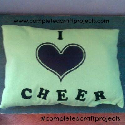 Lime Green T-Shirt I Heart Cheer Pillow with Chalk Heart You can custom with your on personal name! For your custom order and like us on facebook at http://www.facebook.com/completedcraftprojects #completedcraftprojects #Cheer