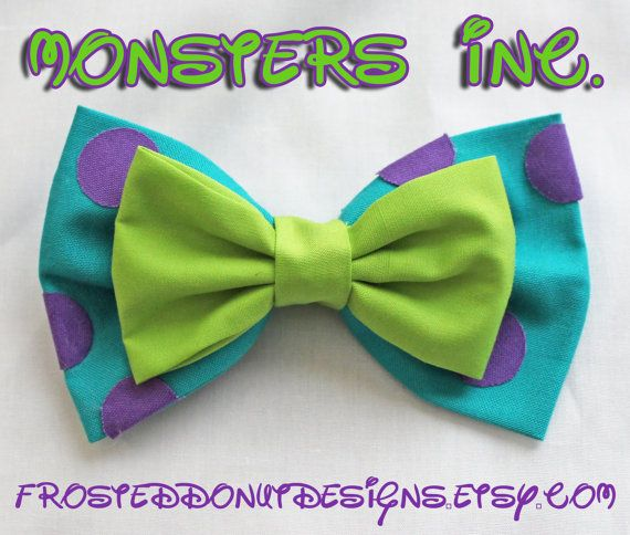 Monsters Inc. Sulley and Mike Bow by FrostedDonutDesigns on Etsy, $9.00