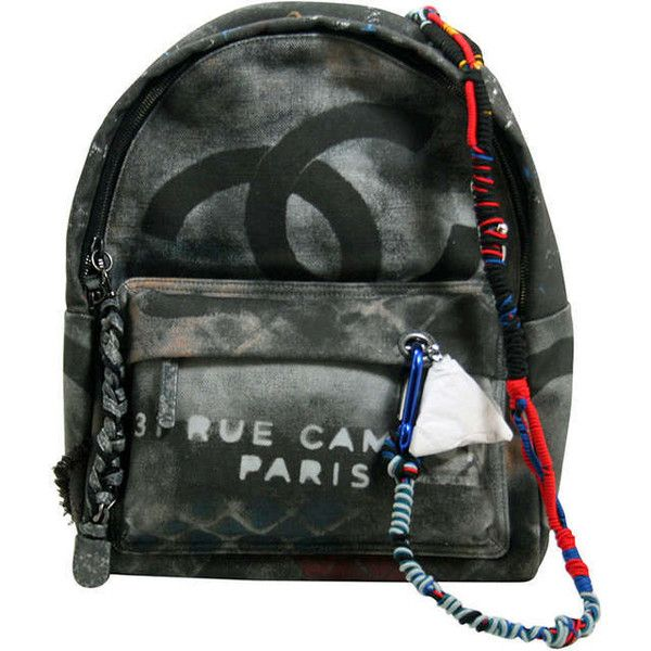 Chanel Small Black Graffiti Art School Backpack ❤ liked on Polyvore featuring bags, backpacks, chanel bags, black bag, chanel, rucksack bag, black knapsack and paper bag