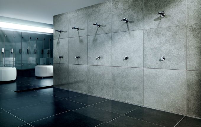 Exclusive changing room shower with a costumized modular linear drain system. unidrain® Modul 1100  #bathroom #badeværelse #nordic #design #inspirational #module1100 #wood #materials #largeshowerarea #shower #showerscreen