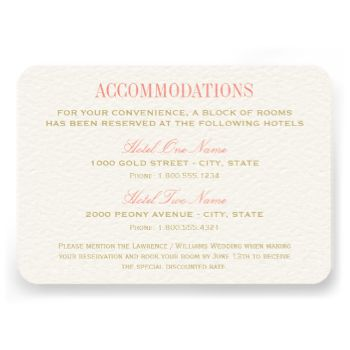 Elegant accommodations card in coral pink and champagne gold color scheme includes custom text can be personalized for your specific needs. This version includes two hotels and reservation information. #wedding #accommodation #accommodations #hotel #information #reservation #elegant coral