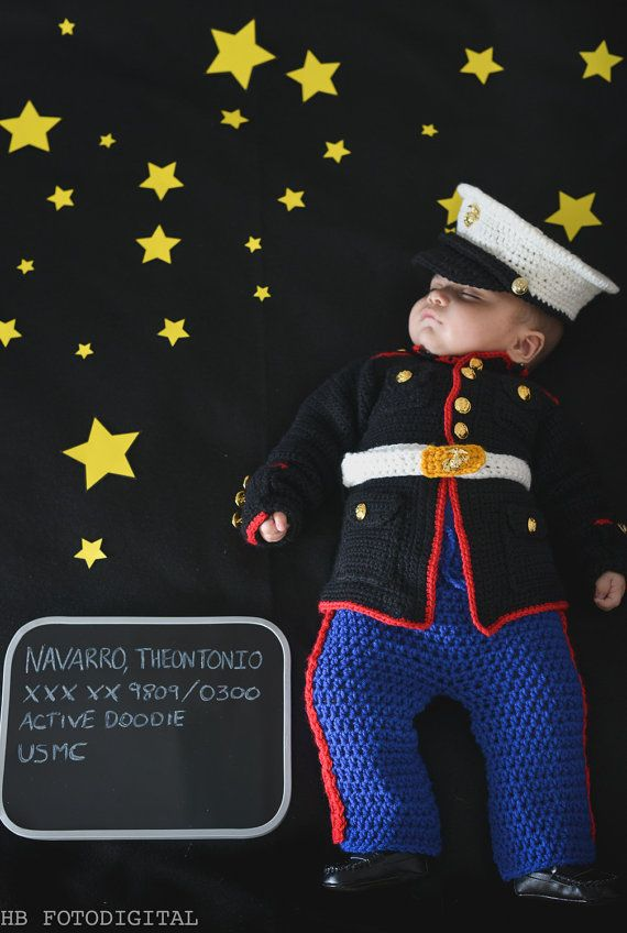 Marine Corps baby USMC baby Marine dress blues outfit you pick the size and colors Hobbyist License #11431
