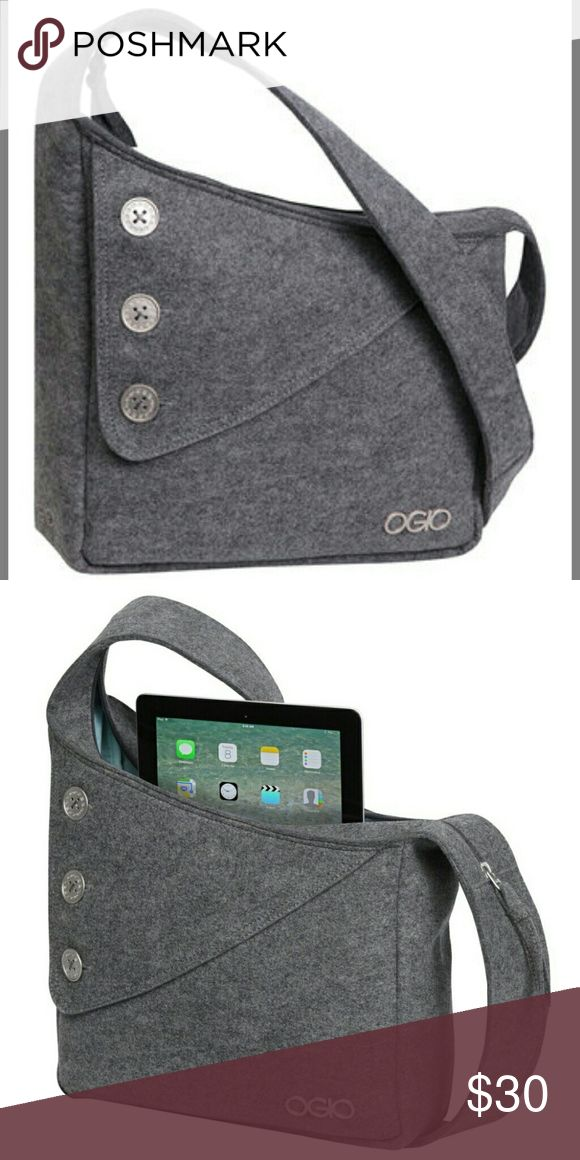 NWOT OGIO Light Felt Grey Brooklyn Tablet Purse Check out this cross body tablet purse! The button accents add to its beauty. It boasts two large main compartments that provide space for essentials, and an interior organization panel (padded) to not only help with organization, but to also carry your tablet! Tablet not included. Would also make a great slimline diaper bag. OGIO Bags Crossbody Bags