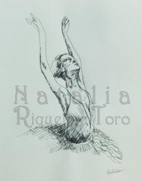 estudio de bailarina, tinta y pluma