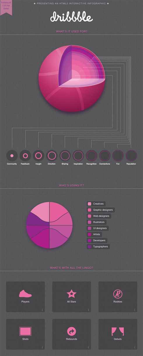Presenting an HTML5 interactive infographic for dribbble.com / What's it used for?