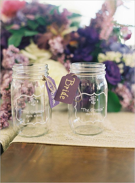 Mason jars cost around $0.70 to $0.80 if you buy in bulk. You can get them from specialtybottle.com for less than $1. Get an etching kit and your trusty group of bridesmaids to help with this personalized favor.
