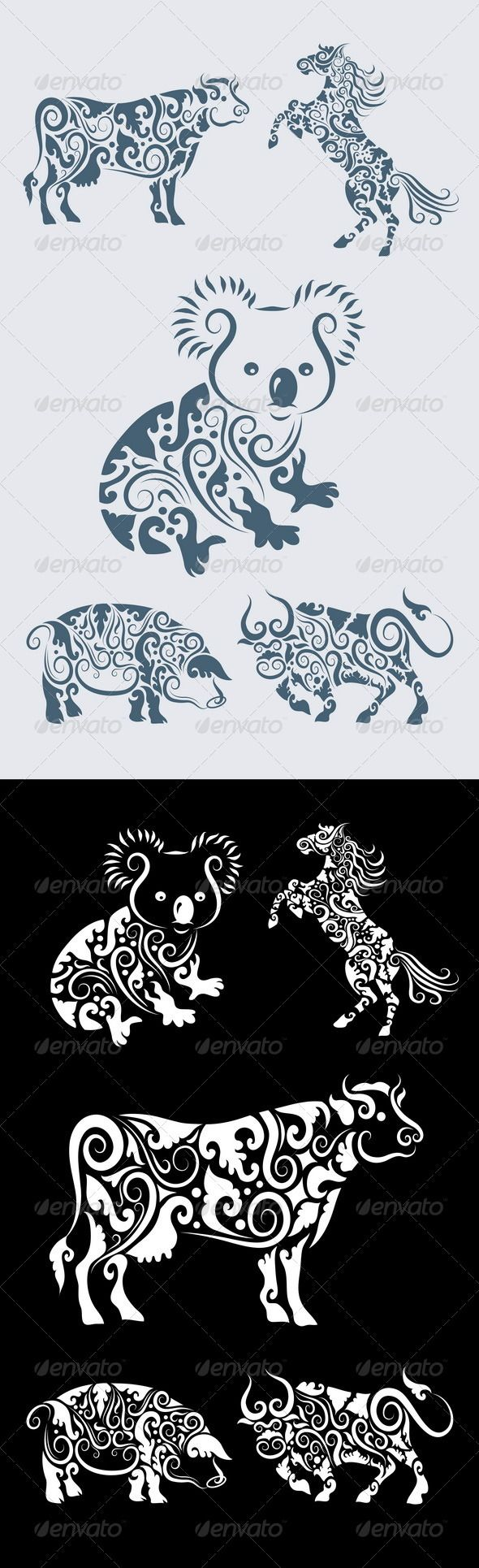 Koala ornament and friends (5 animal ornaments) #GraphicRiver 5 animals with floral ornament decoration. Use for tattoo, t-shirt or any design you want.