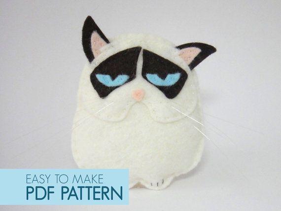 Easy to sew felt PDF pattern. DIY Grumpy Cat by Phoraminiphera
