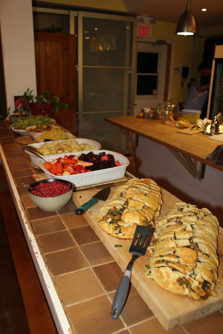 Vegan Holiday Feast.  Lots of maple-roasted veggies with a Sweet Potato Roulade. Add some fresh cranberry sauce and a variety of yummy treats for dessert and it was a meal to remember!