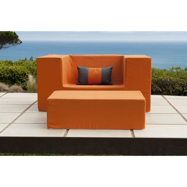 Softblock Lowboy Alice Orange Chair (Lowboy Alice Orange Chair), Patio  Furniture (Fabric