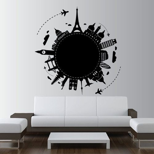 Wall Decal Vinyl Sticker Art Decor Design World Country City Paris Rome Big Ben NY globe Plane Map travel showplace Dorm Bedroom