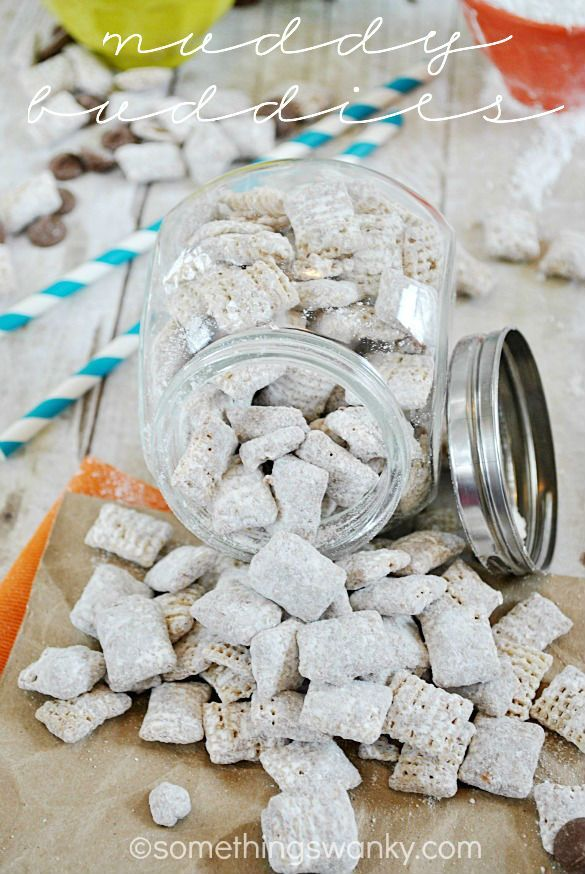 Muddy Buddies {aka Puppy Chow} recipe   The traditional favorite, except I used Chocolate flavored Chex, & used a tiny bit less cereal. The Chex is more evenly coated, moist (not dry) & has DELICIOUS chocolatey taste!