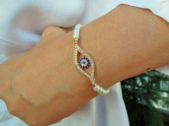 Turkish Eye Bracelet Best Friend Jewelry Gold by ebrukjewelry