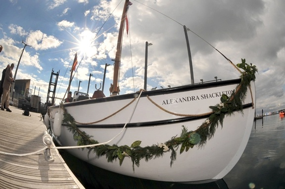 The newly constructed expedition boat, the Alexandra Shackleton, an exact replica of Shackleton's original James Caird