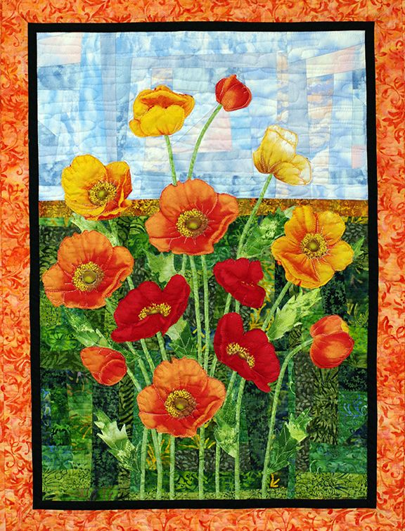Poppies quilt design by Joanne Cranfield | Quilts by JVC