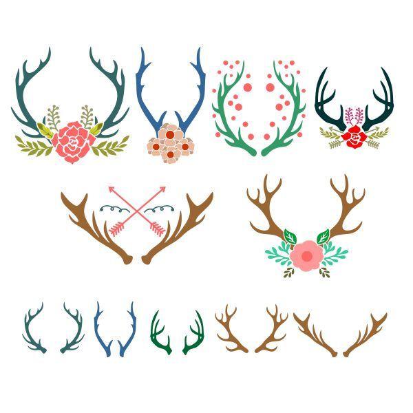 Reindeer Deer Antlers Decals Christmas Cuttable Design Svg Png Dxf Eps Designs Cameo File Silhouet Antler Drawing Reindeer Tattoo Antler Tattoos