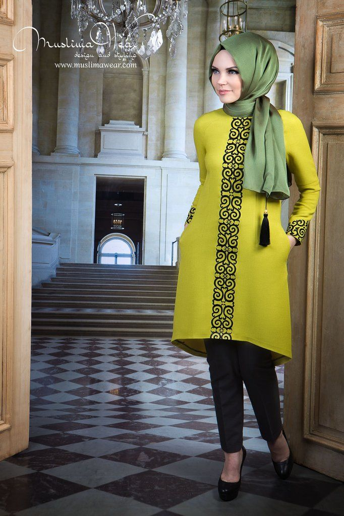 Muslima Wear. Tunic lime color with fancy black embroidery.