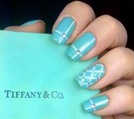 Tiffany Blue and White with Rhinestones. Accent Finger Quilted with  Rhinestones. - Best 25+ Tiffany Blue Nails Ideas On Pinterest Tiffany Nails