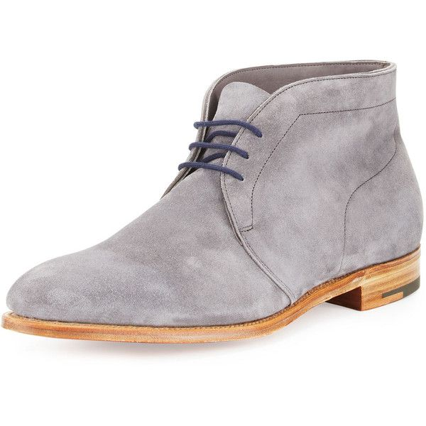 John Lobb Ferris Suede Chukka Boot (90.245 RUB) ❤ liked on Polyvore featuring men's fashion, men's shoes, men's boots, grey, mens chukka boots, mens lace up shoes, mens suede shoes, mens lace up boots and mens grey shoes