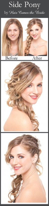 Side Pony by Hair Comes the Bride. Love the curls and the braids. (@Aleesha Maddock I'm gonna try this on you!)