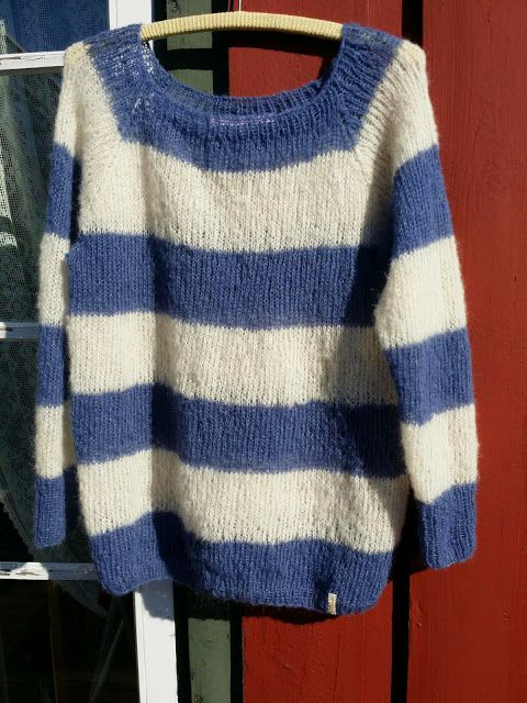 Elisabeth.H hobbyside: Acne genser i jeansblå og offwhite.
