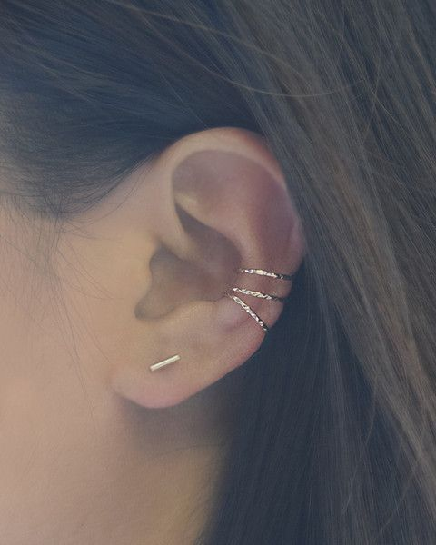 Rose Gold Cuff Earring Set - set of 3 hammered thin cuff earrings look great worn together or separate. By Olive Yew.