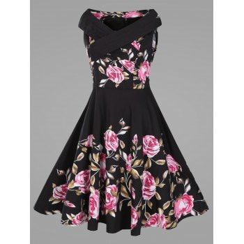 Criss Cross Plus Size Floral Retro Pin Up Dress - BLACK BLACK